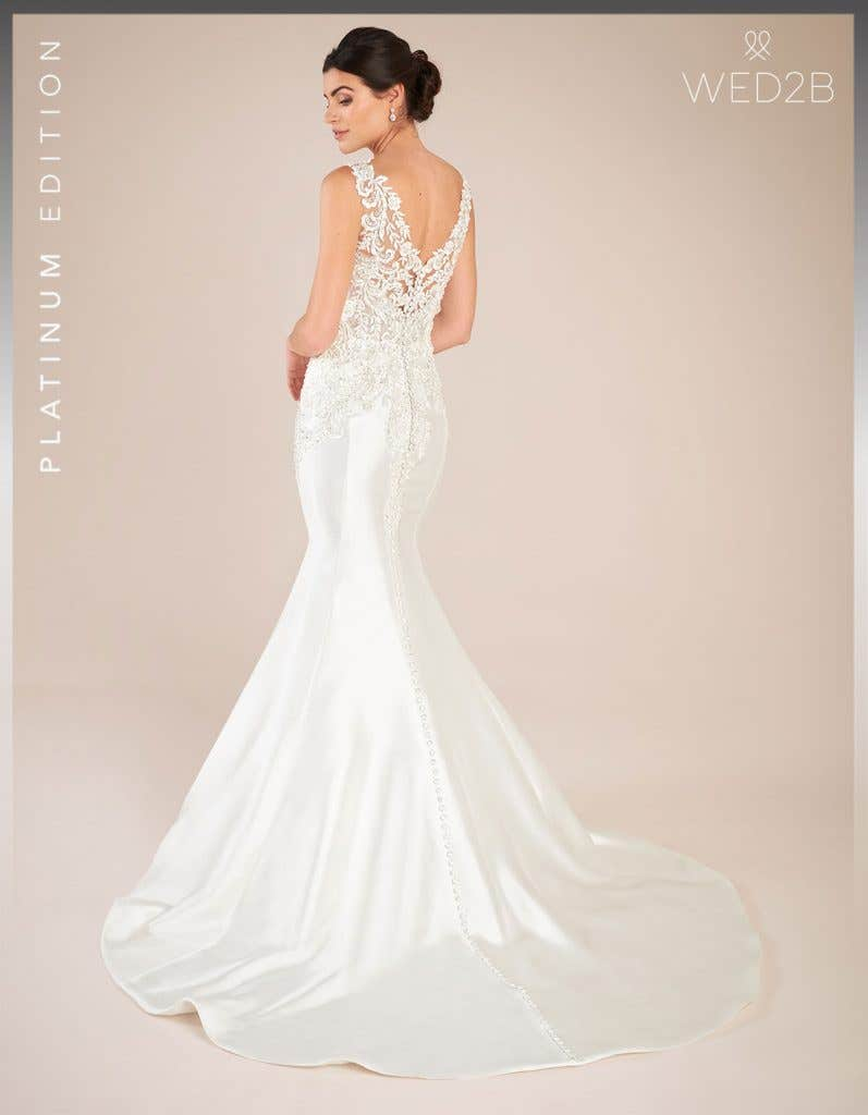 Back view of vintage lace wedding dress Theroux by Anna Sorrano