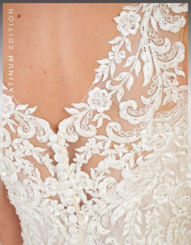 Detailed view of vintage lace wedding dress Theroux by Anna Sorrano