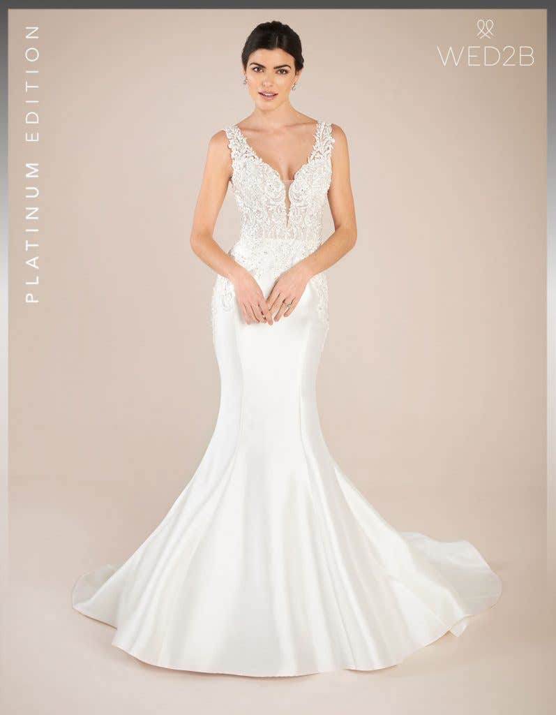 Front view of vintage lace wedding dress Theroux by Anna Sorrano