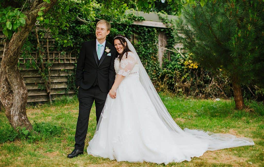 The happy couple at their Hertfordshire wedding