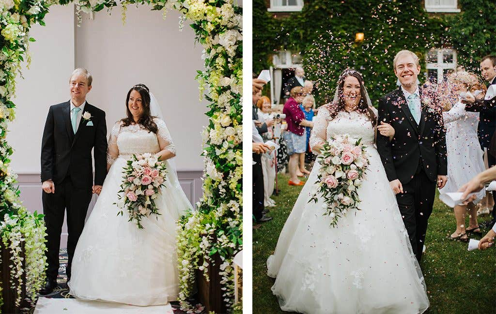 Walking down the aisle at their Hertfordshire wedding