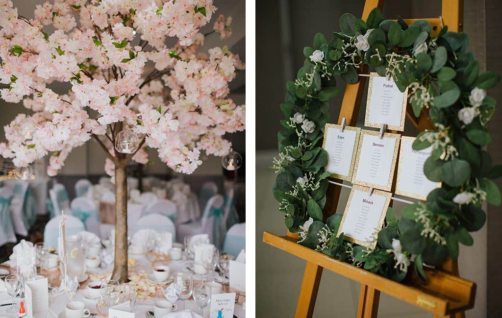 Green and pink decor at this Hertfordshire wedding