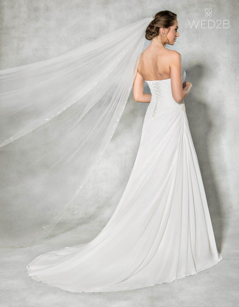 Back view of sweetheart neckline dress Addison by Anna Sorrano