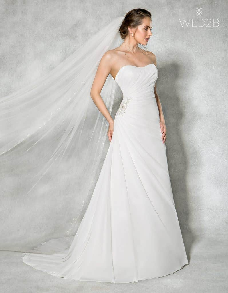 Front view of sweetheart neckline dress Addison by Anna Sorrano