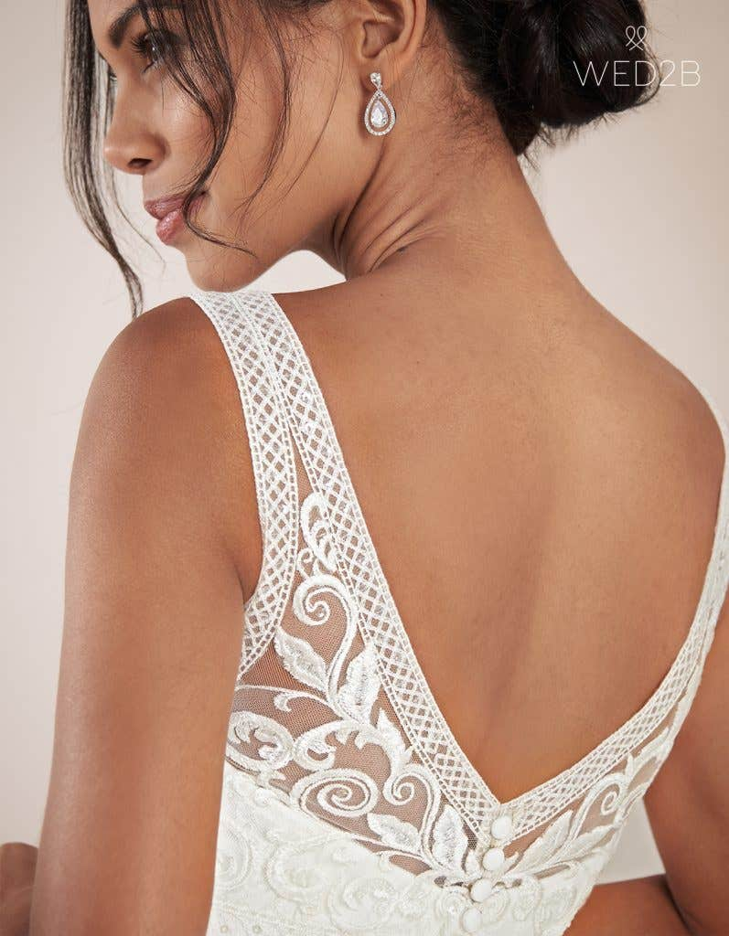 Close-up back view of Adelpha by Anna Sorrano, one of our exquisite wedding dresses