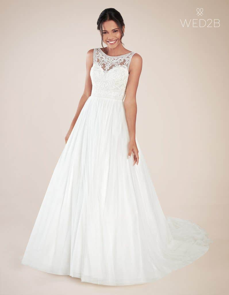 Front view of Adelpha by Anna Sorrano, one of our exquisite wedding dresses
