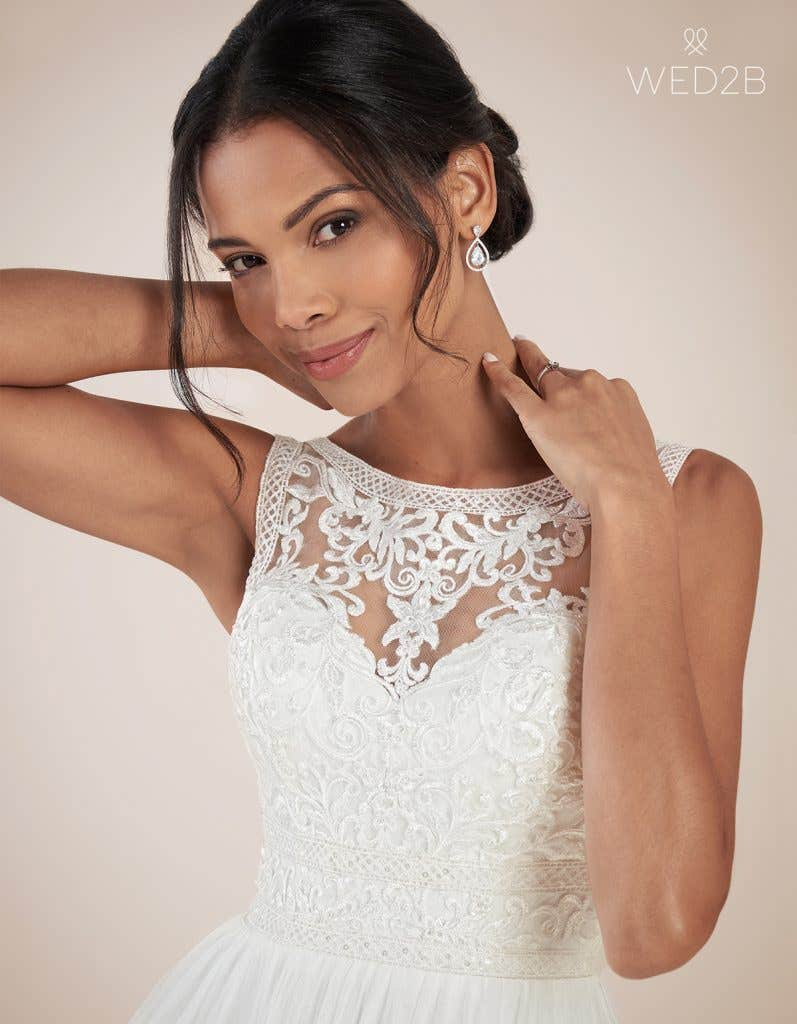 Close-up view of Adelpha by Anna Sorrano, one of our exquisite wedding dresses