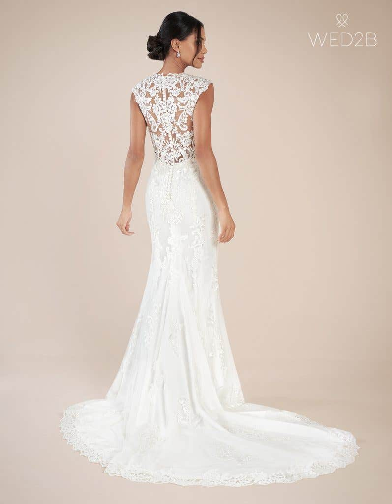 Back view of modern wedding dress Augusta by Anna Sorrano
