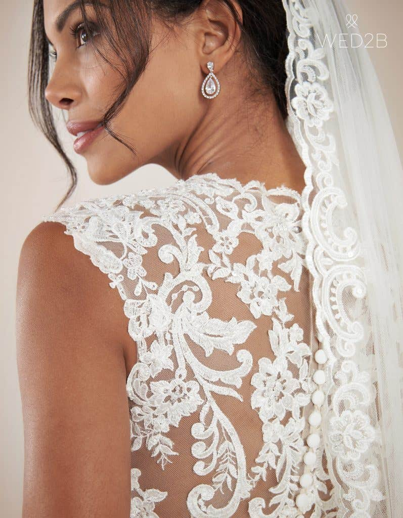 Close-up back view of modern wedding dress Augusta by Anna Sorrano