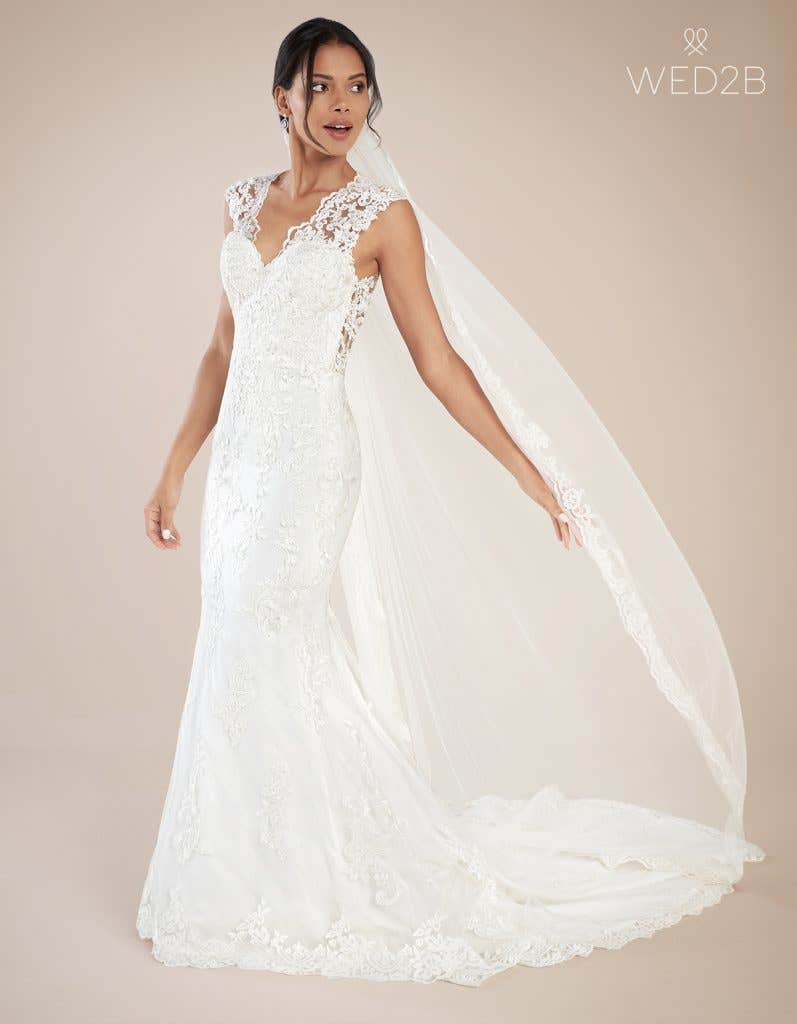 Front view of modern wedding dress Augusta by Anna Sorrano