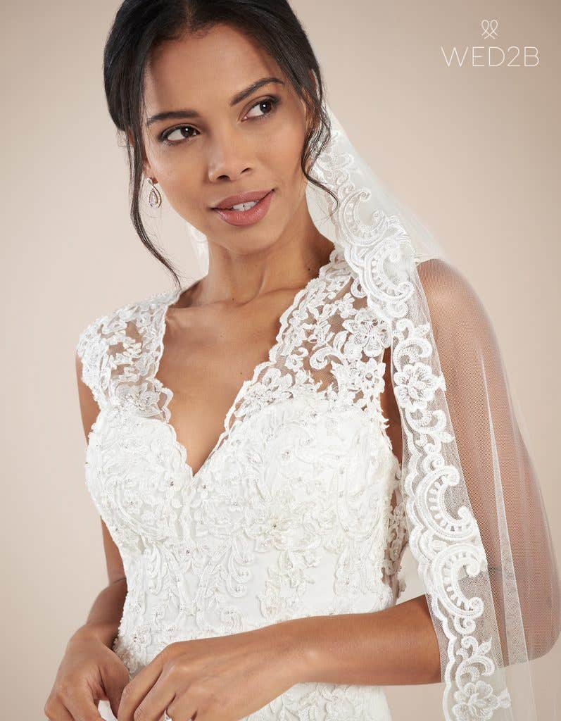 Close-up front view of modern wedding dress Augusta by Anna Sorrano