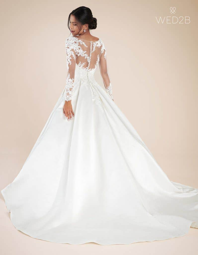 Back view of Christina by Anna Sorrano, a lace wedding dress UK