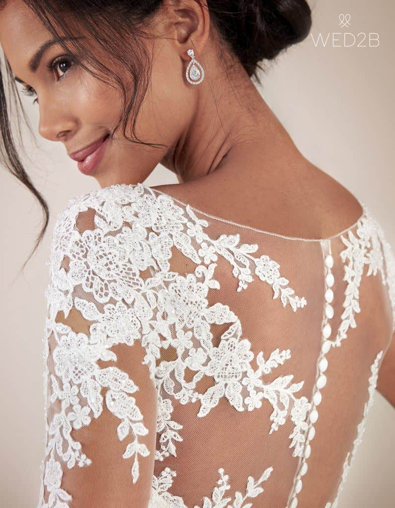 Detailed view of Christina by Anna Sorrano, a lace wedding dress UK