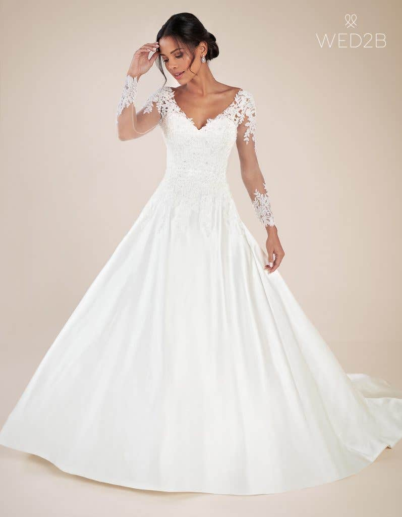Front view of Christina by Anna Sorrano, a lace wedding dress UK