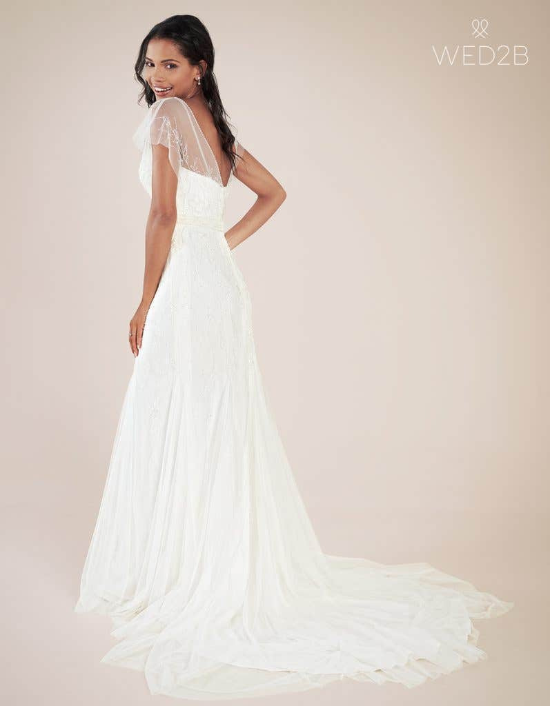 Back view of modern wedding dress Daya by Heidi Hudson