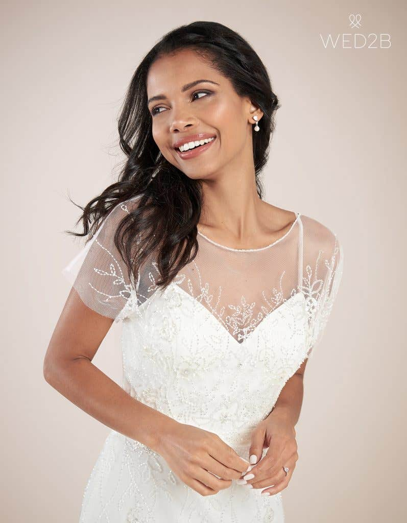 Close-up front view of modern wedding dress Daya by Heidi Hudson