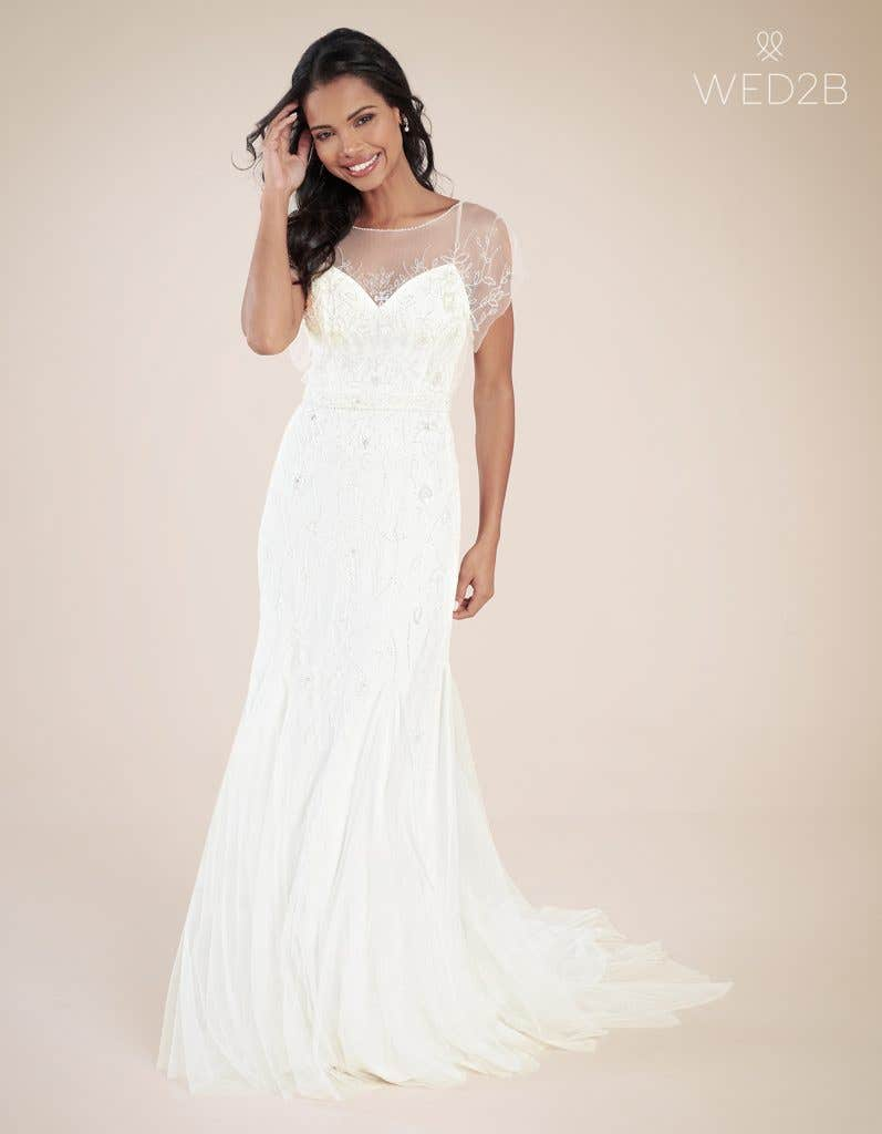 Front view of modern wedding dress Daya by Heidi Hudson