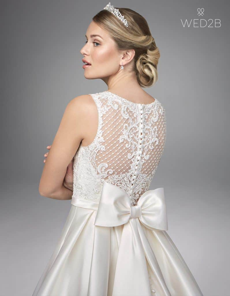 Close-up back view of Gianna by Anna Sorrano, a lace wedding dress UK