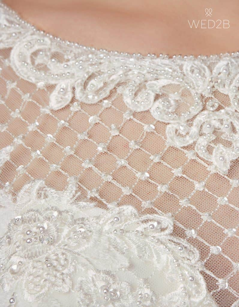 Detailed view of Gianna by Anna Sorrano, a lace wedding dress UK