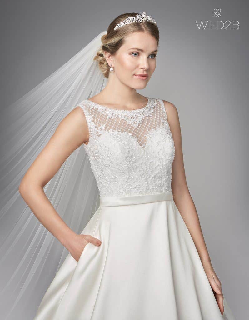 Close-up view of Gianna by Anna Sorrano, a lace wedding dress UK