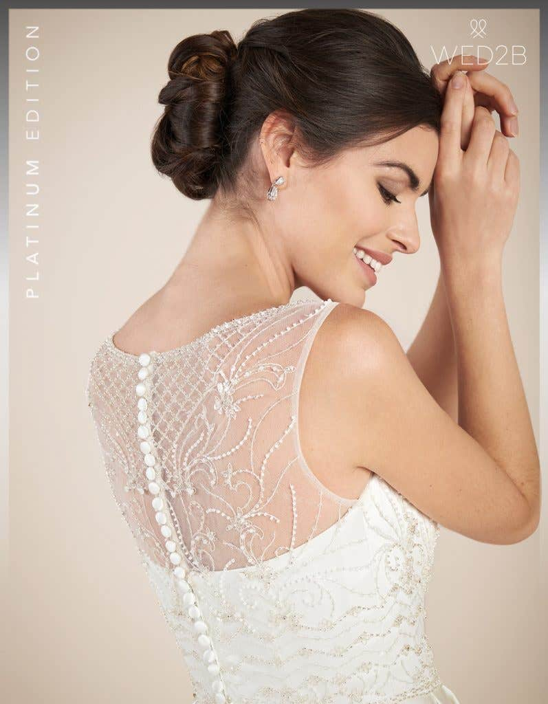Close-up back view of Hamilton by Anna Sorrano, a lace wedding dress UK
