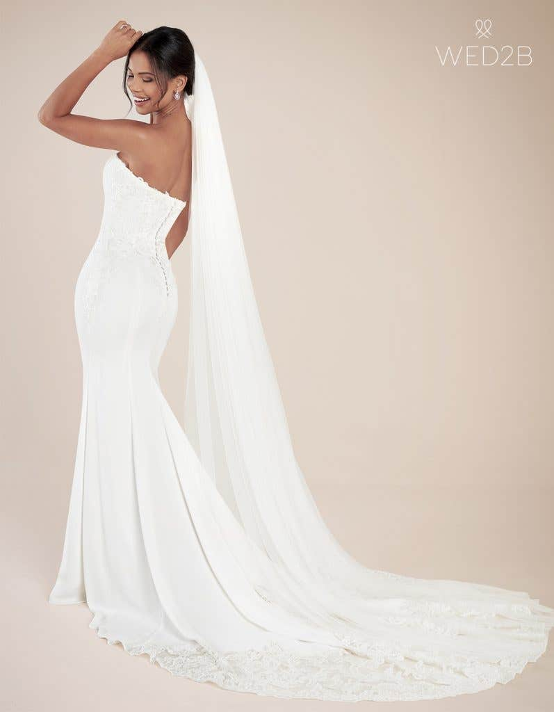 Back view of modern wedding dress Landon by Anna Sorrano