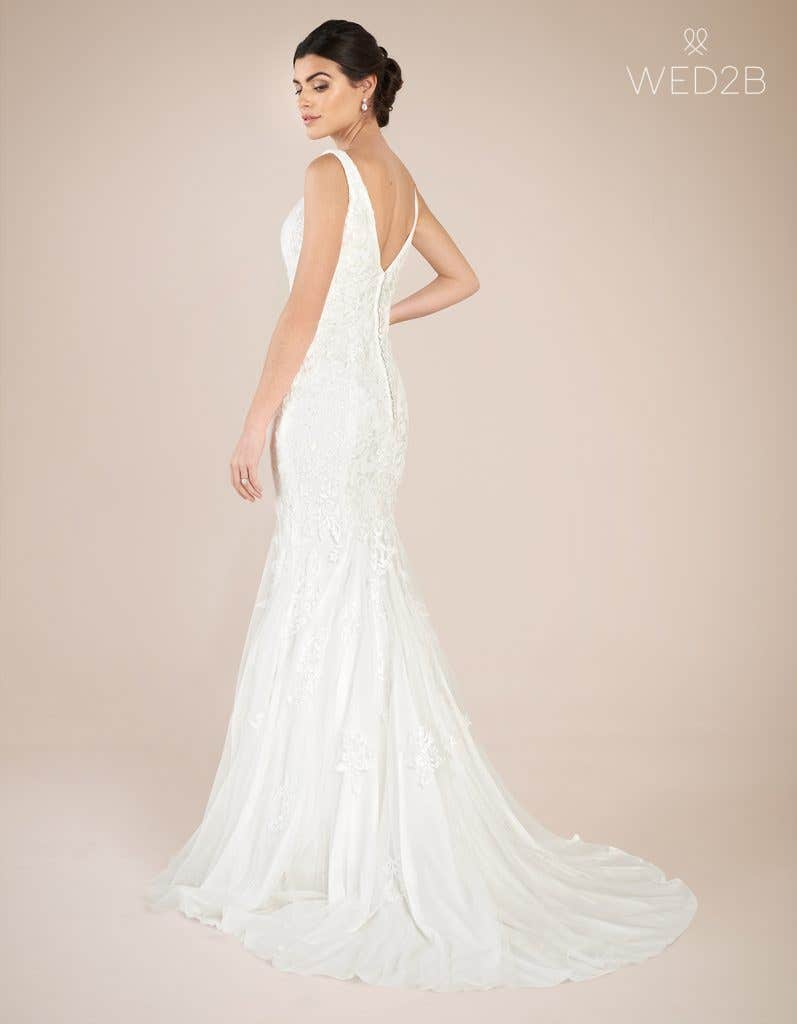 Back view of Richmond by Anna Sorrano, a lace wedding dress UK