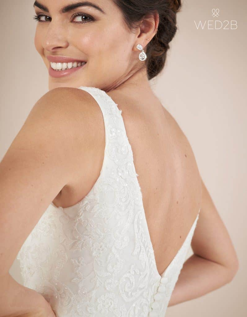 Close-up back view of Richmond by Anna Sorrano, a lace wedding dress UK