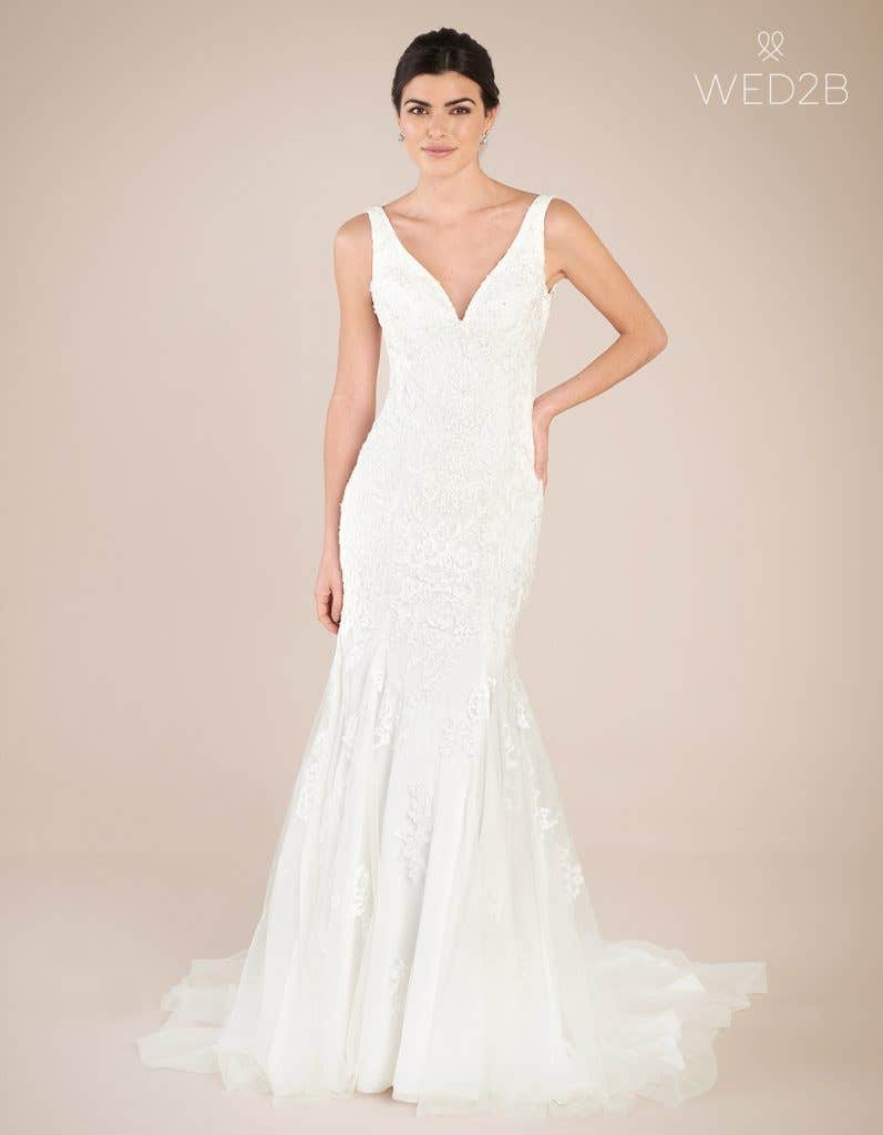 Front view of Richmond by Anna Sorrano, a lace wedding dress UK