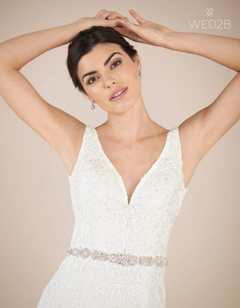 Close-up view of Richmond by Anna Sorrano, a lace wedding dress UK