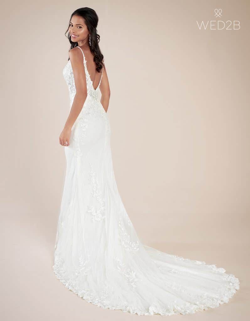 Back view of modern wedding dress Rocco by Viva Bride
