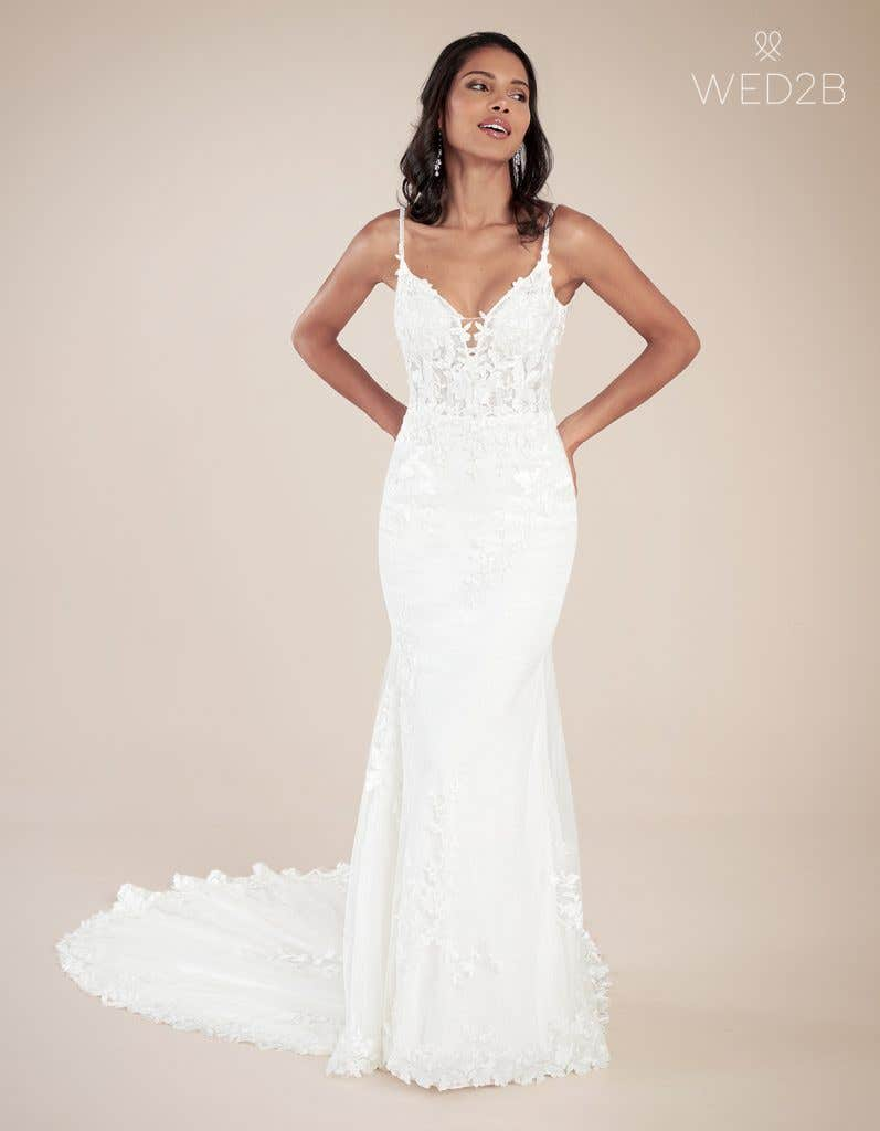 Front view of modern wedding dress Rocco by Viva Bride