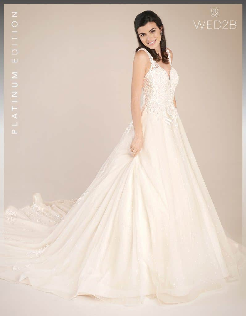 Front view of princess wedding dress Shannon by Viva Bride, in blush