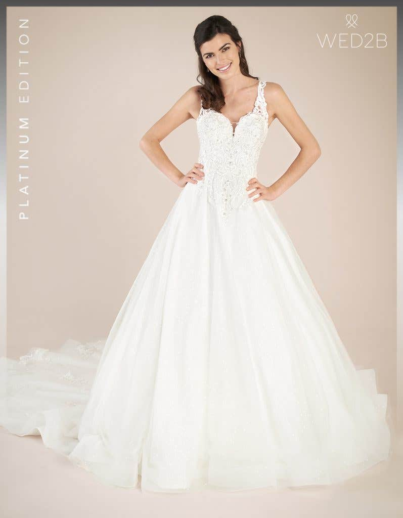 Front view of princess wedding dress Shannon by Viva Bride, in ivory