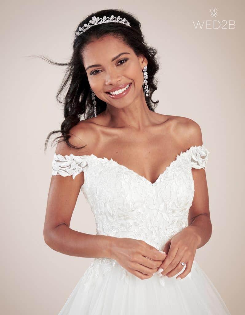 Close-up view of princess wedding dress Violette by Viva Bride