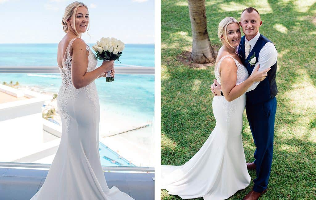 The beautiful bride getting married abroad in wedding dress Sawyer