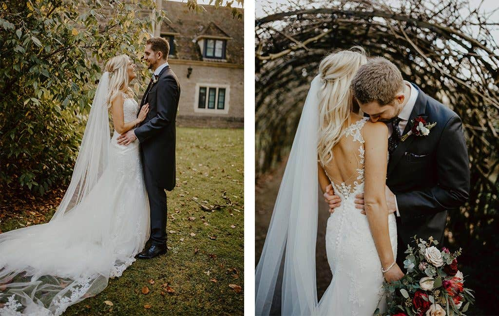 Lovely bridal photos at this wedding with a gold wedding theme
