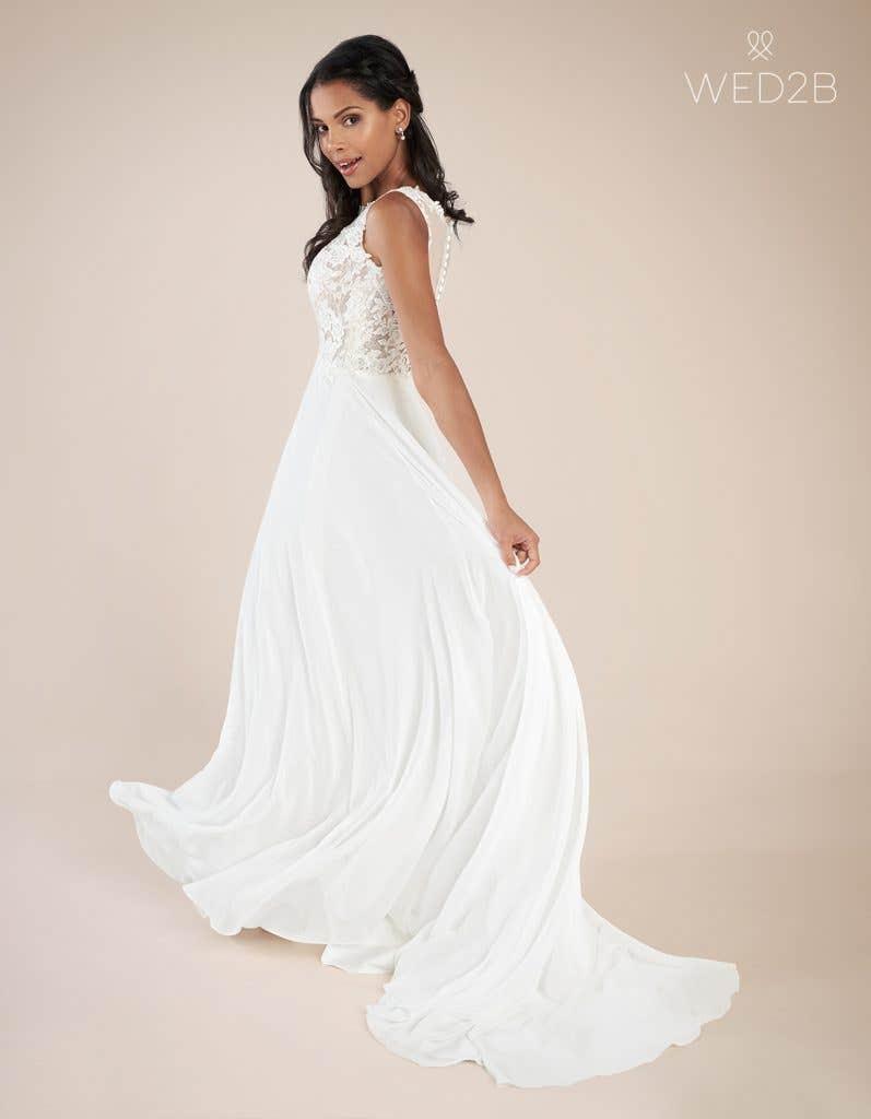 Back view of fashion wedding dress Adalia by Heidi Hudson