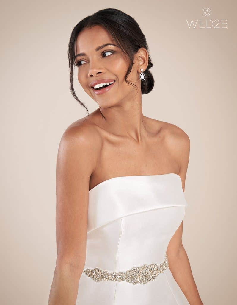 Close-up front view of fashion wedding dress Aden by Anna Sorrano