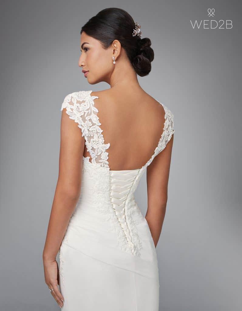 Close-up back view of luxury wedding dress Adina by Anna Sorrano