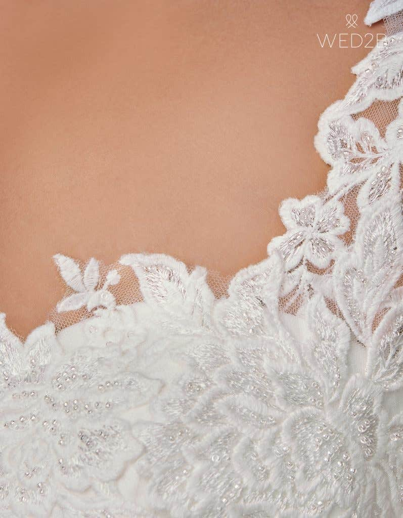 Detailed view of pleated wedding dress Adina by Anna Sorrano