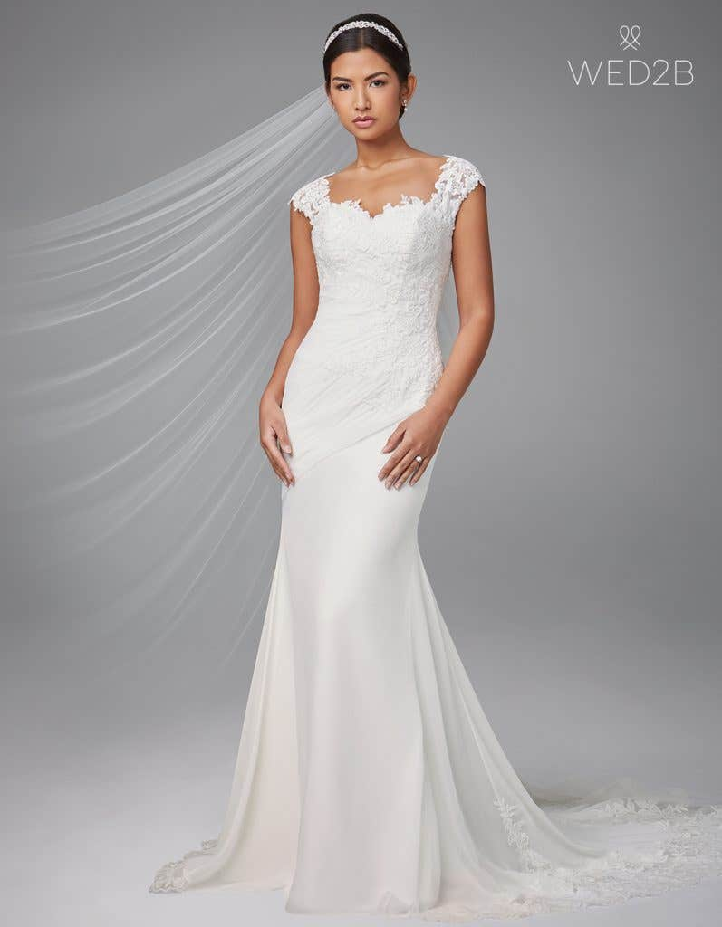 Front view of pleated wedding dress Adina by Anna Sorrano