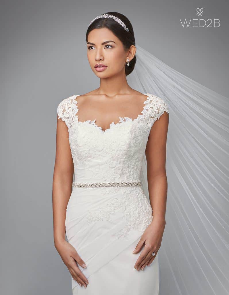 Front view of pleated wedding dress Adina by Anna Sorrano with accessories