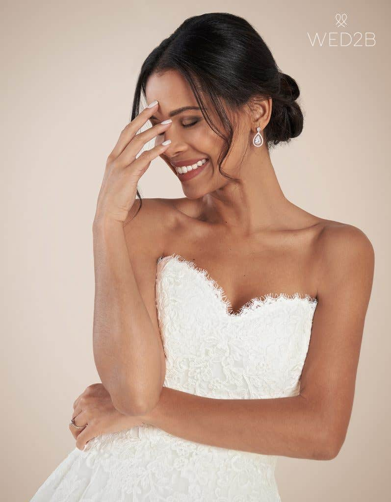 Close-up front view of luxury wedding dress Georgette by Anna Sorrano