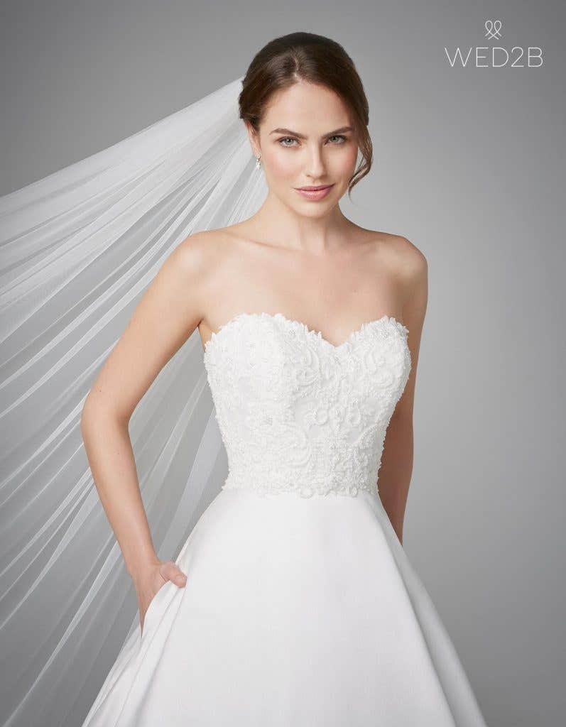 Close-up front view of fashion wedding dress Georgia by Anna Sorrano