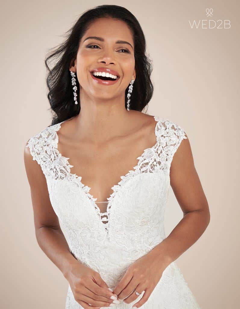 Close-up front view of luxury wedding dress Jamie by Viva Bride