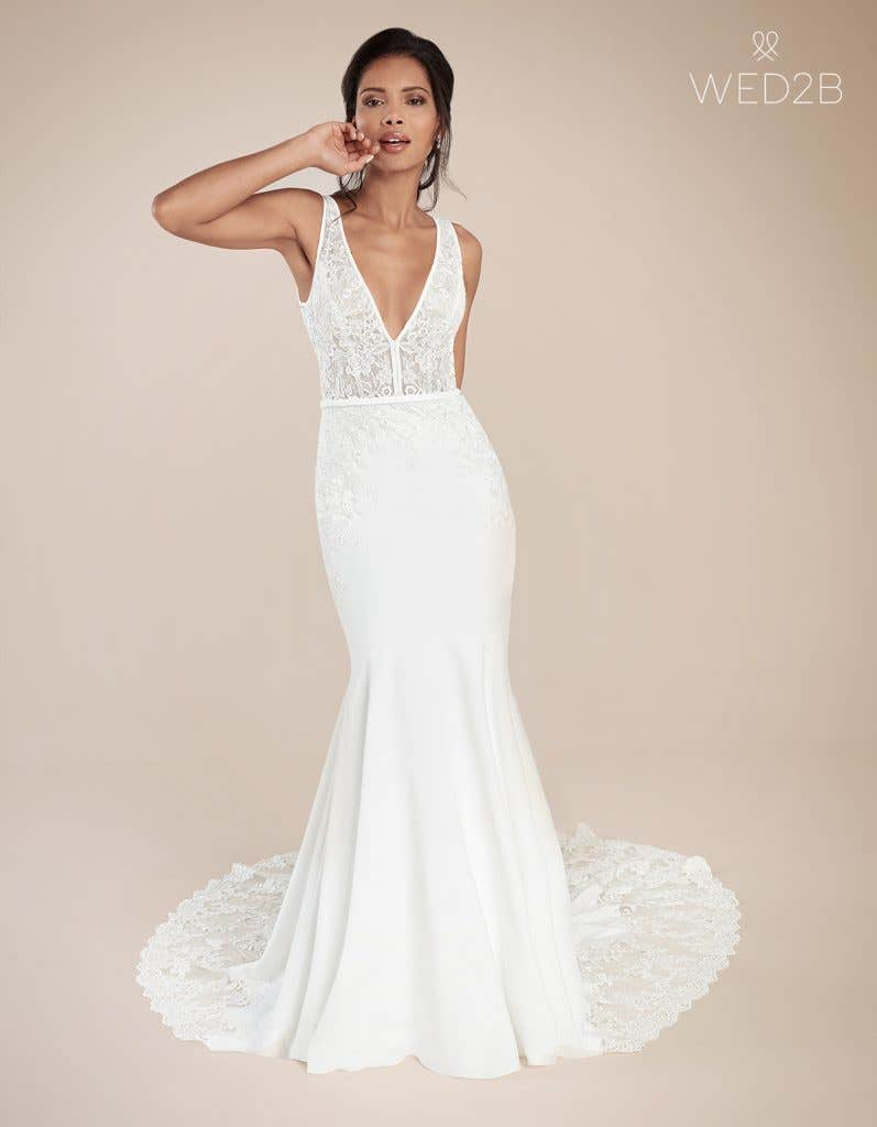 Front view of fashion wedding dress Leon by The Signature Collection