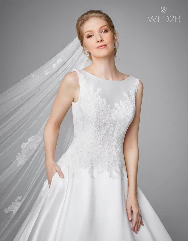 Front view of pleated wedding dress Phillipa by Anna Sorrano